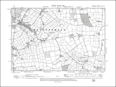 NORFOLK 104NE : old map of Kenninghall in 1906