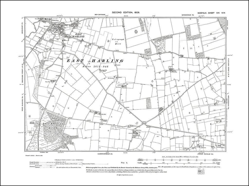 NORFOLK 104NW : old map of East Harling in 1906