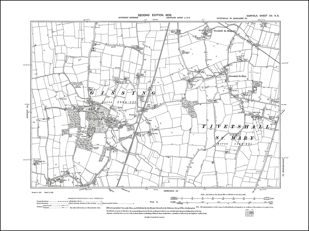 NORFOLK 105NE : old map of Gissing, Tivetshall in 1906