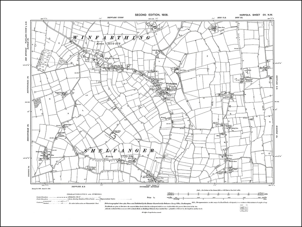 NORFOLK 105NW : old map of Winfarthing in 1906