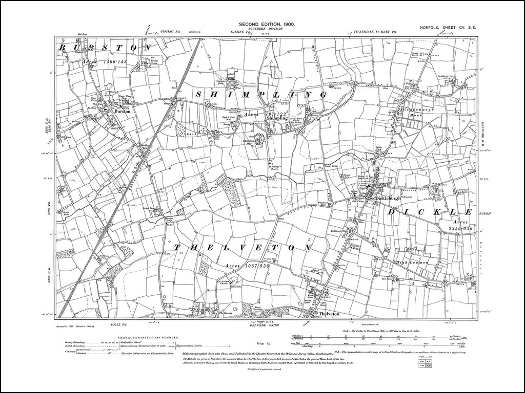NORFOLK 105SE : old map of Burston, Dickleburgh, Shimpling in 1905