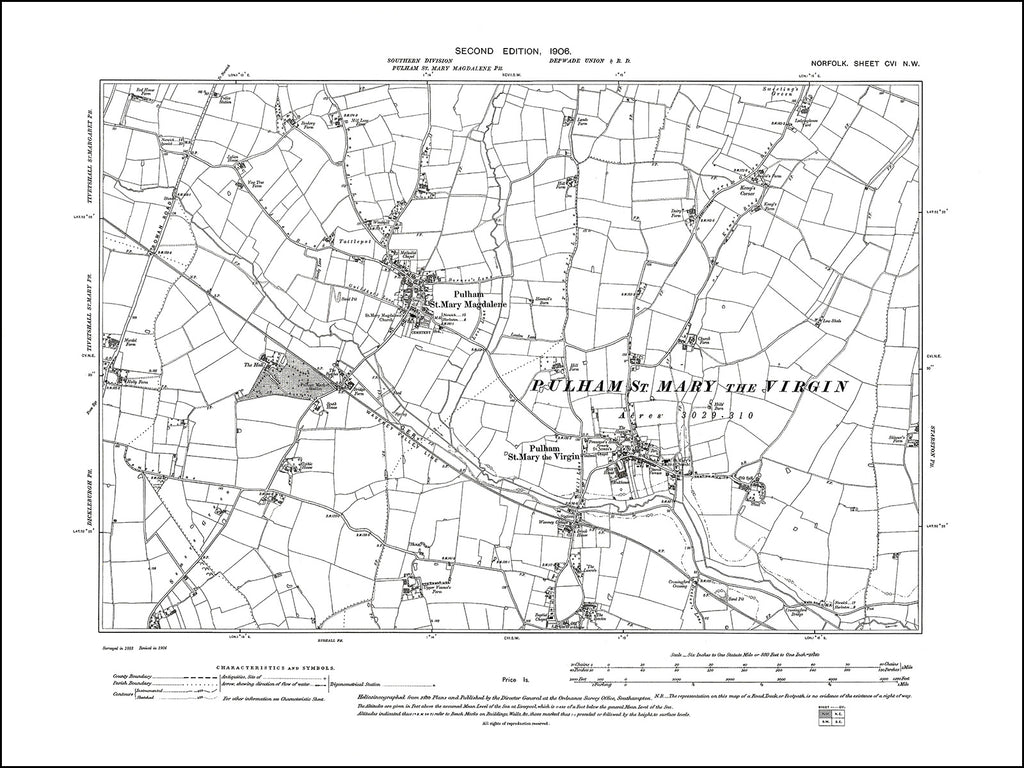 NORFOLK 106NW : old map of Pulham in 1906