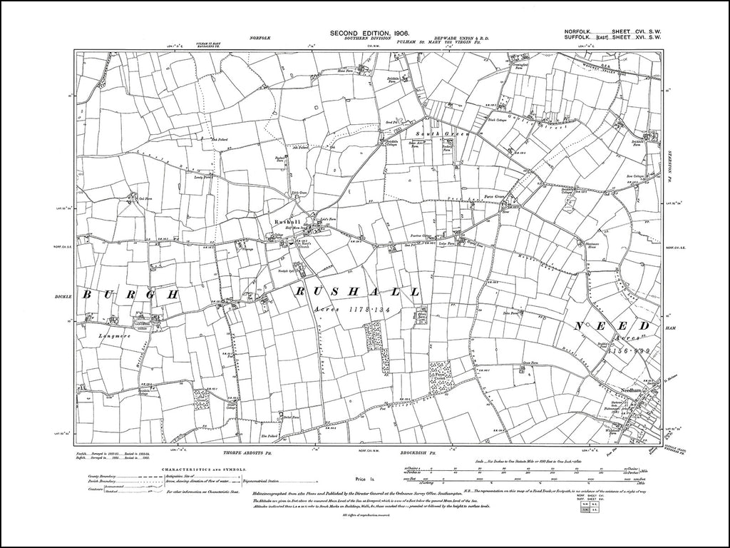 NORFOLK 106SW : old map of Rushall in 1906