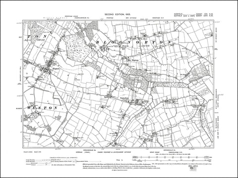 NORFOLK 109NW : old map of Blo Norton in 1905
