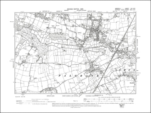 NORFOLK 110NW : old map of Diss in 1906