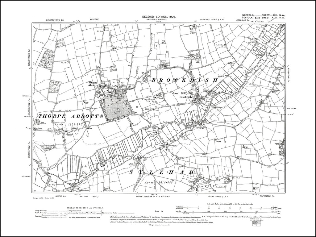 NORFOLK 111NW : old map of Brockdish, Thorpe Abbotts in 1905