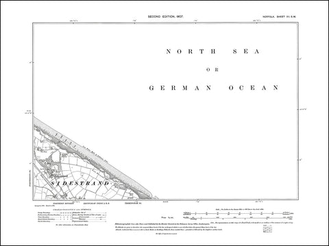 NORFOLK 12SW : old map of Sidestrand in 1907