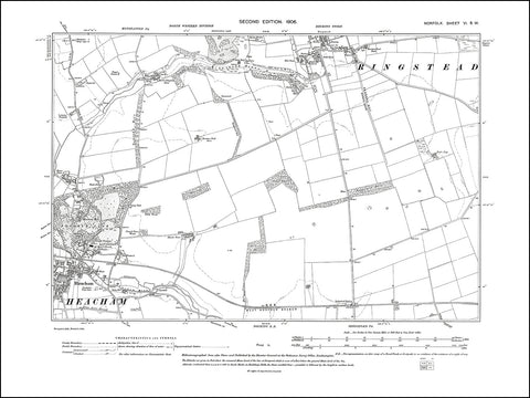 NORFOLK 06SW : old map of Heacham, Ringstead in 1906