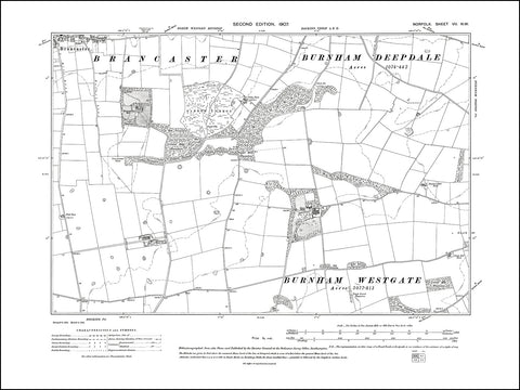 NORFOLK 07NW : old map of Brancaster, Brancaster Hall in 1907