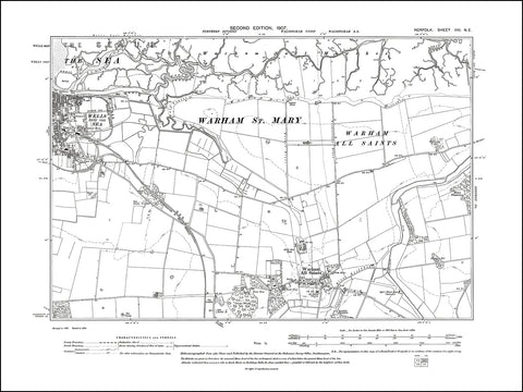 NORFOLK 08NE : old map of Wells next the Sea, Warham All Saints in 1907