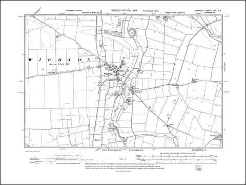 NORFOLK 08SE : old map of Wighton in 1907