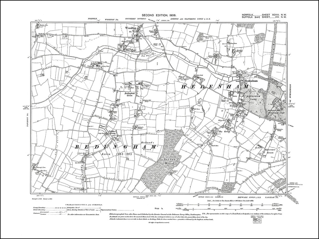 NORFOLK 98NW : old map of Bedingham, Hedenham, Woodton in 1906