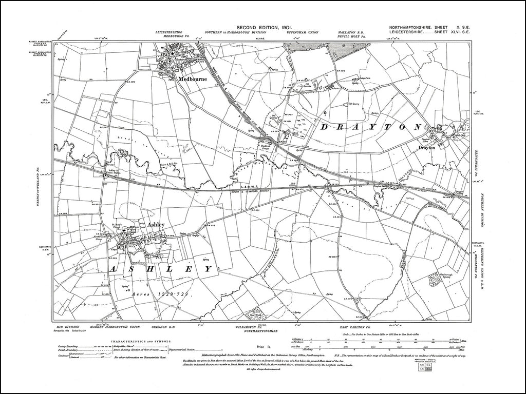 NORTHAMPTONSHIRE 010SE : old map of Ashley in 1901