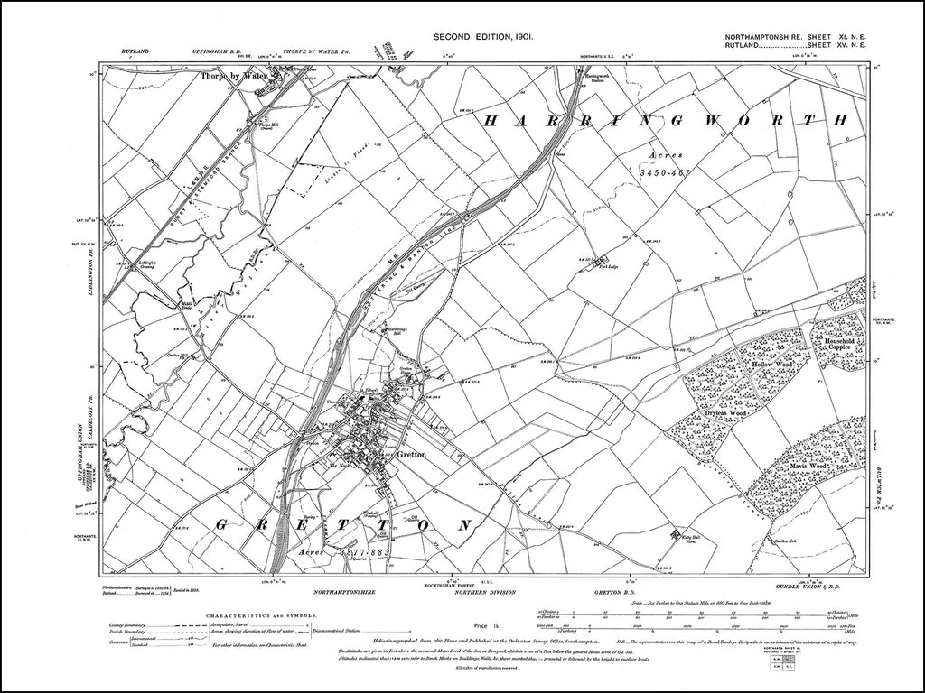 NORTHAMPTONSHIRE 011NE : old map of Gretton in 1901