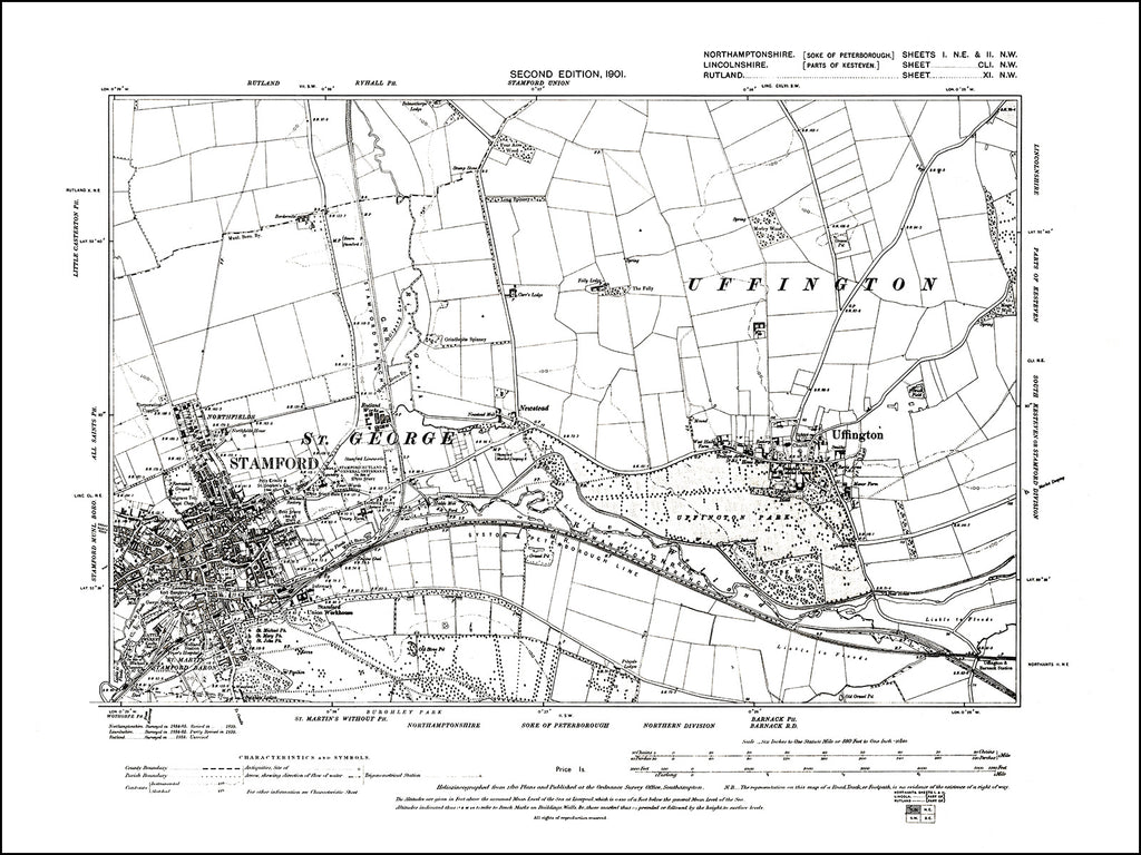 NORTHAMPTONSHIRE 001NE-002NW : old map of Uffington in 1901