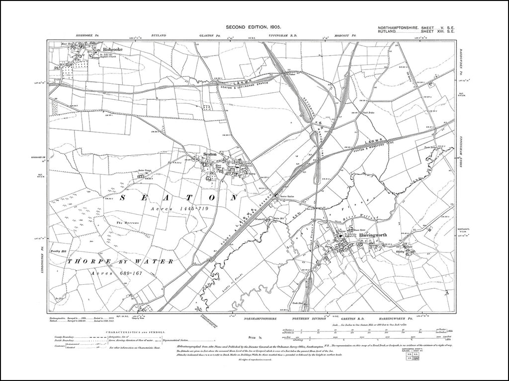 NORTHAMPTONSHIRE 005SE : old map of Harringworth in 1901