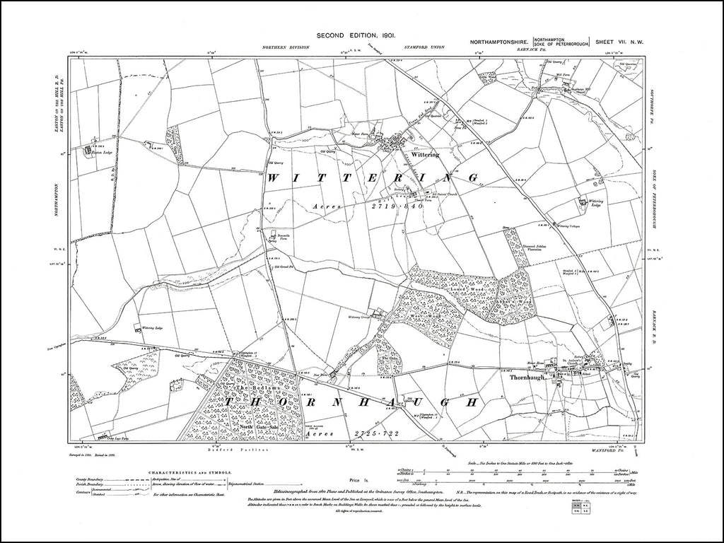 NORTHAMPTONSHIRE 007NW : old map of Thornhaugh, Wittering in 1901