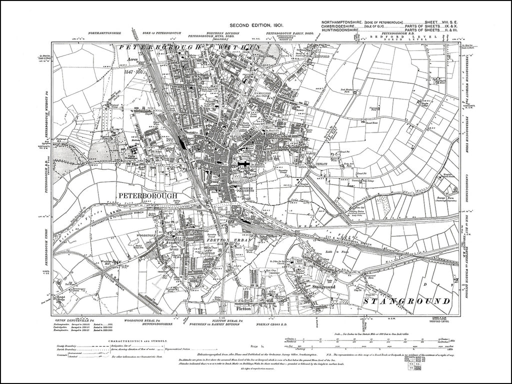 NORTHAMPTONSHIRE 008SE : old map of Peterborough in 1901
