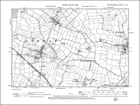 NOTTINGHAMSHIRE 015SW : old map of Askham, East Drayton, Upton in 1900