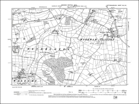 NOTTINGHAMSHIRE 019NE : old map of Markham Clinton, Walesby, Milton in 1900
