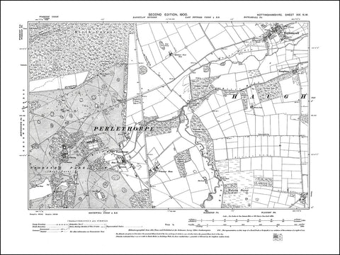 NOTTINGHAMSHIRE 019NW : old map of Perlethorpe in 1900