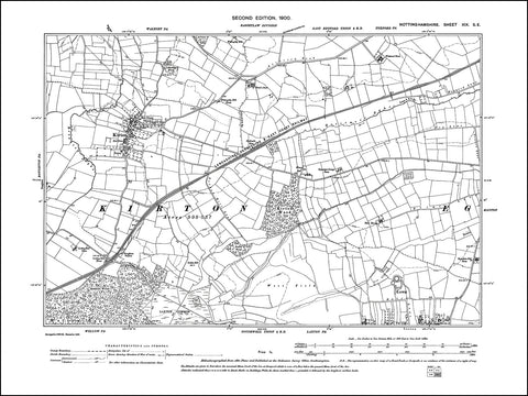 NOTTINGHAMSHIRE 019SE : old map of Kirton, Laxton (north) in 1900