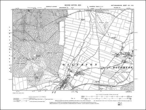 NOTTINGHAMSHIRE 019SW : old map of Ollerton, Boughton in 1900