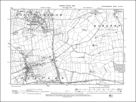 NOTTINGHAMSHIRE 020NW : old map of Tuxford, East Markham in 1900