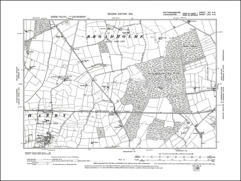 NOTTINGHAMSHIRE 021NE : old map of Harby in 1900