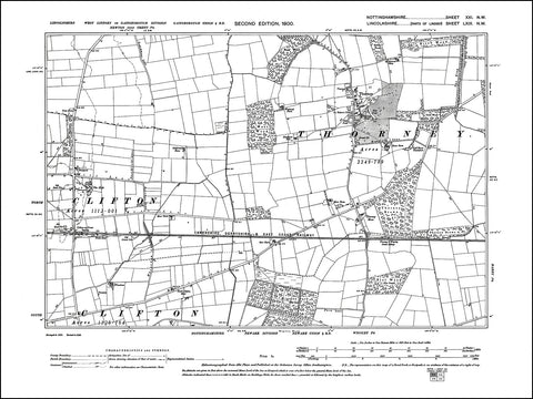 NOTTINGHAMSHIRE 021NW : old map of Thorney in 1900