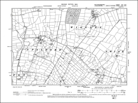 NOTTINGHAMSHIRE 021SW : old map of Spalford, Wigsley in 1900