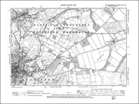 NOTTINGHAMSHIRE 023SW : old map of Mansfield, Mansfield Woodhouse in 1900