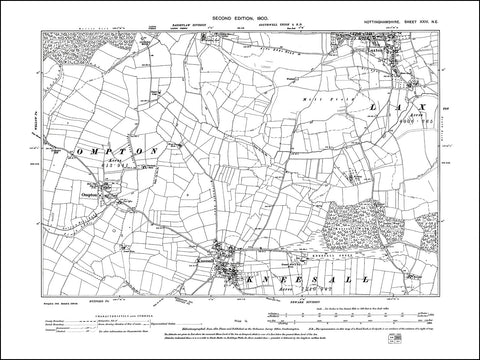 NOTTINGHAMSHIRE 024NE : old map of Kneesall, Laxton in 1900