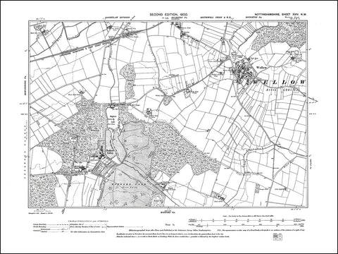 NOTTINGHAMSHIRE 024NW : old map of Wellow, Rufford Abbey, Ollerton (south) in 1900