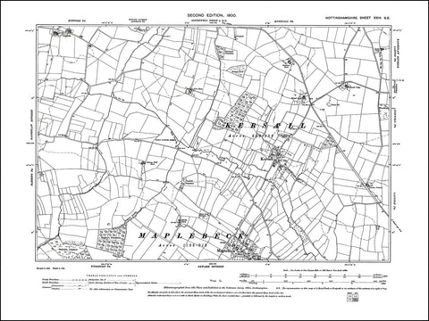 NOTTINGHAMSHIRE 024SE : old map of Kersall, Maplebeck in 1900