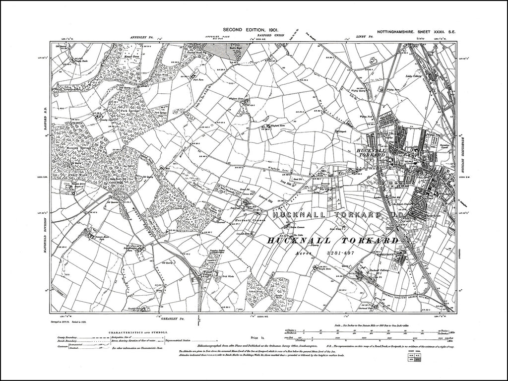 NOTTINGHAMSHIRE 032SE : old map of Hucknell Torkard (west) in 1901