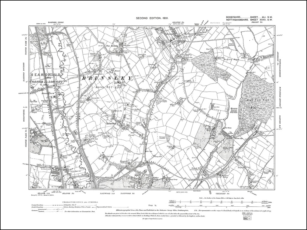 NOTTINGHAMSHIRE 032SW : old map of Brinsley in 1901