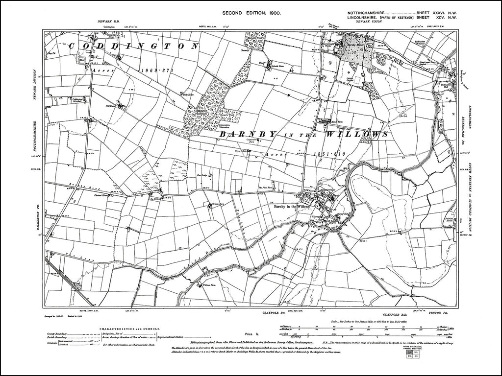 NOTTINGHAMSHIRE 036NW : old map of Barnby in the Willows in 1900