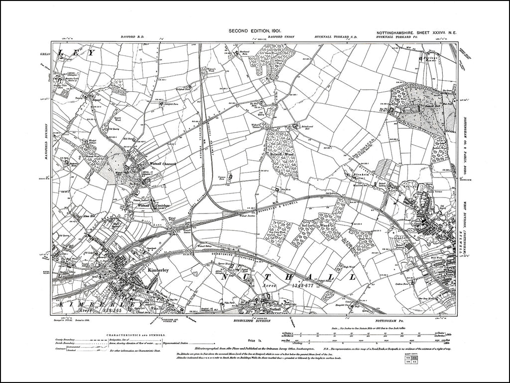 NOTTINGHAMSHIRE 037NE : old map of Kimberley, Bulwell (west), Nuthall in 1901