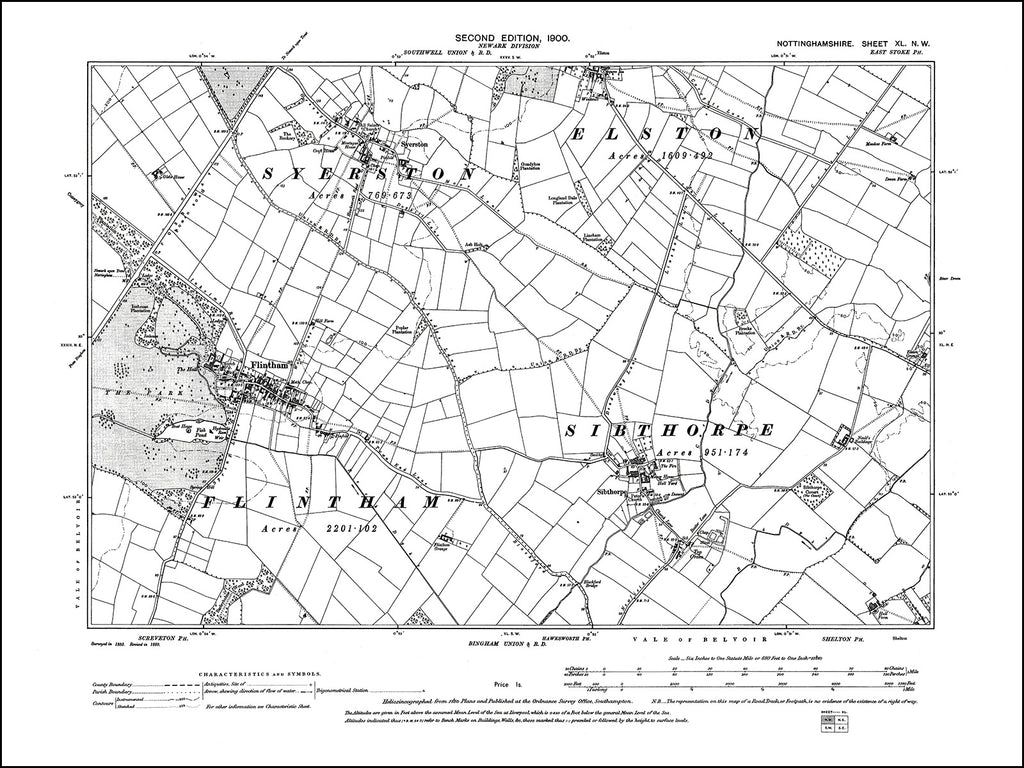 NOTTINGHAMSHIRE 040NW : old map of Flintham, Sibthorpe, Syerston in 1900