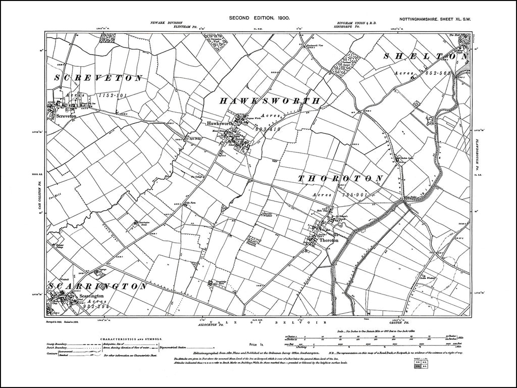 NOTTINGHAMSHIRE 040SW : old map of Hawksworth, Thoroton, Scarrington, Screveton in 1900