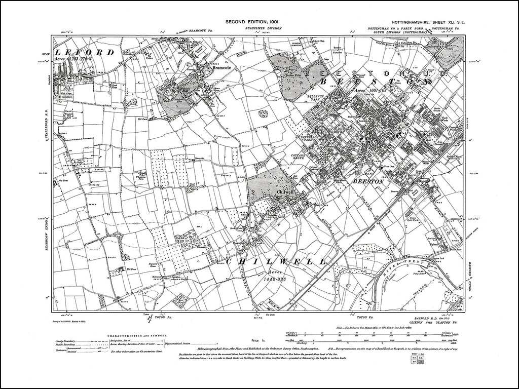 NOTTINGHAMSHIRE 041SE : old map of Beeston, Chilwell, Bramcote in 1900