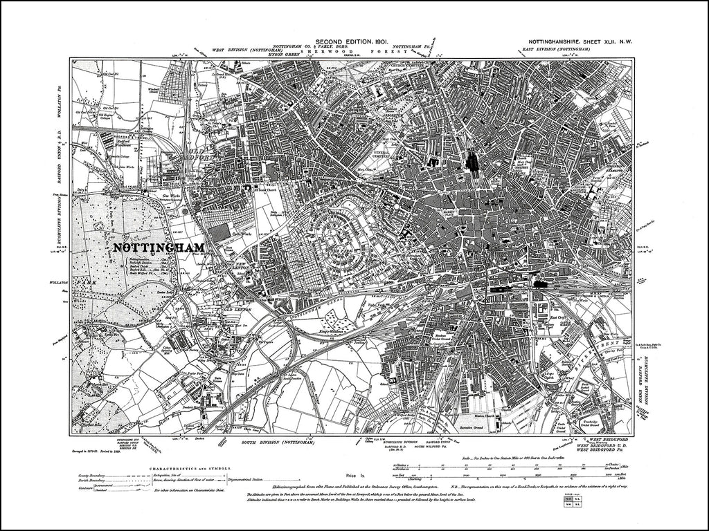 NOTTINGHAMSHIRE 042NW : old map of Nottingham in 1901