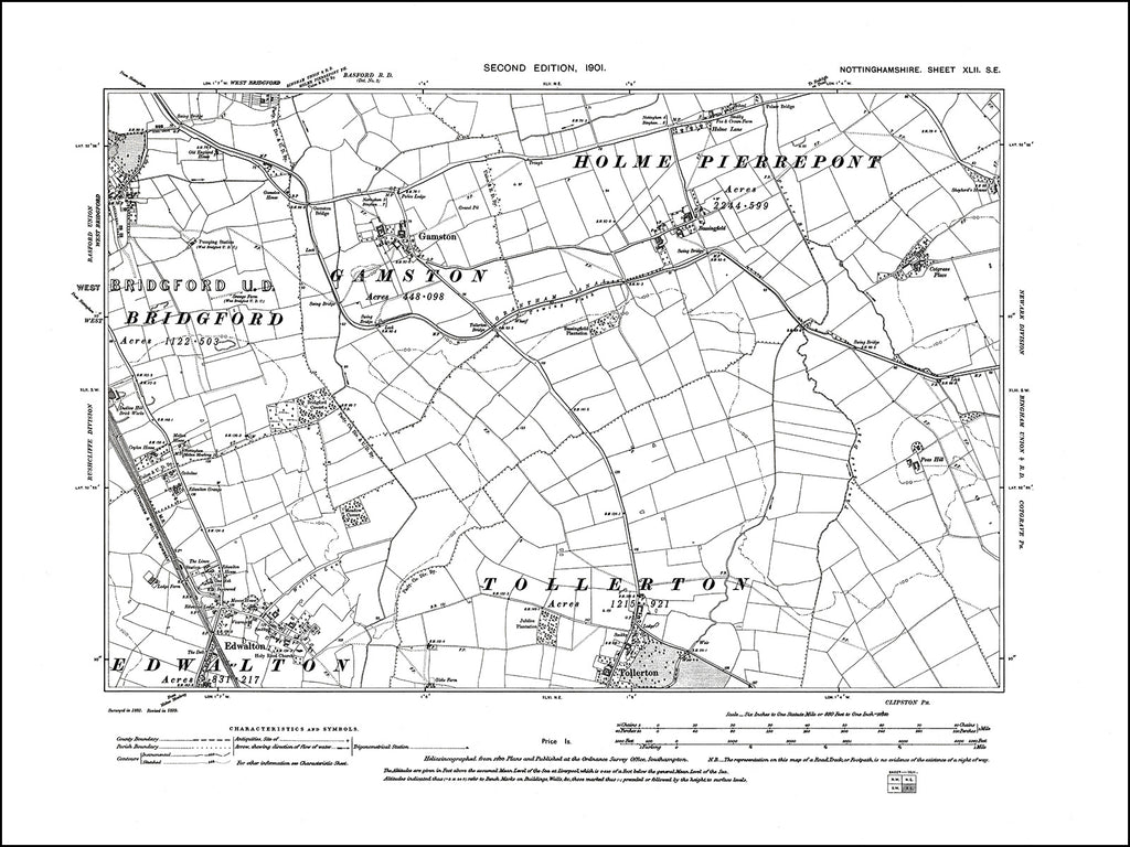 NOTTINGHAMSHIRE 042SE : old map of Gamston, Edwalton, Tollerton in 1901