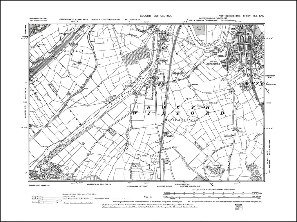 NOTTINGHAMSHIRE 042SW : old map of West Bridgford, Wilford, Clifton in 1901