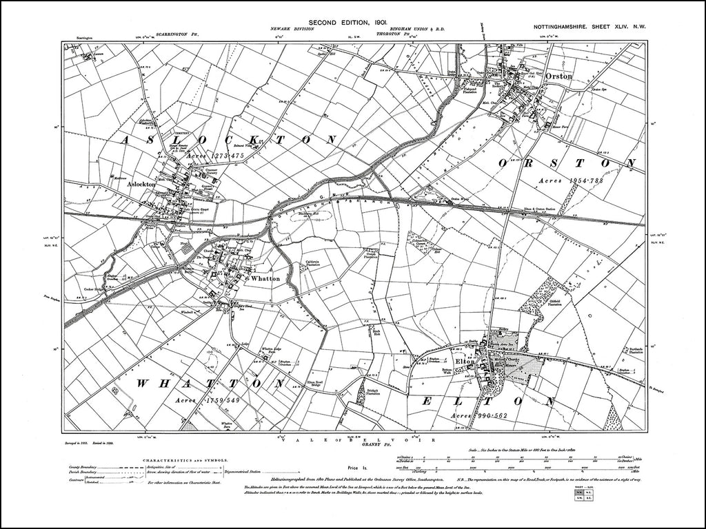 NOTTINGHAMSHIRE 044NW : old map of Elton, Whatton, Aslockton in 1901