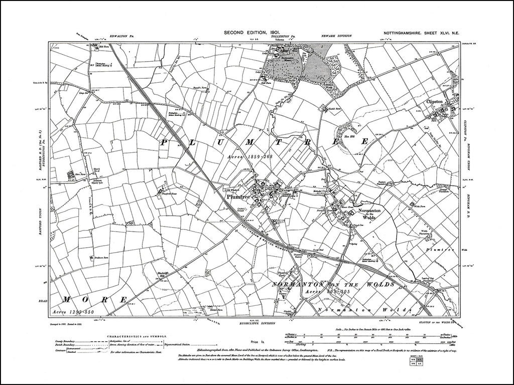 NOTTINGHAMSHIRE 046NE : old map of Plumtree, Normanton on the Wold, Clipston in 1901
