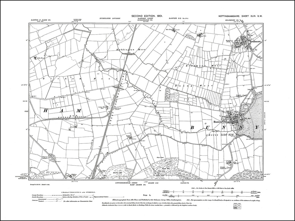 NOTTINGHAMSHIRE 046SW : old map of Bunny, Bradmore in 1901