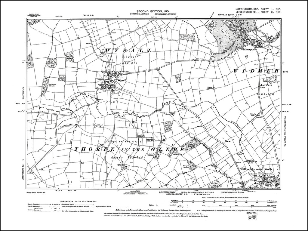 NOTTINGHAMSHIRE 050NE : old map of Widmerpool, Willoughby on the Wolds, Wysall in 1901