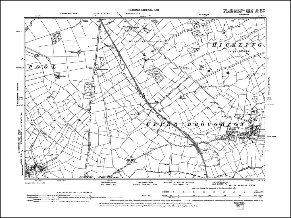 NOTTINGHAMSHIRE 051NW : old map of Upper Broughton in 1901